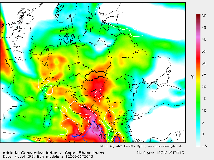 Mapa - Adriatic convective index a CAPE-SHEAR index
